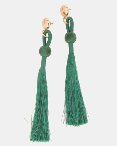 Legit Gold-Toned Stud Thread Tassel Earrings Green
