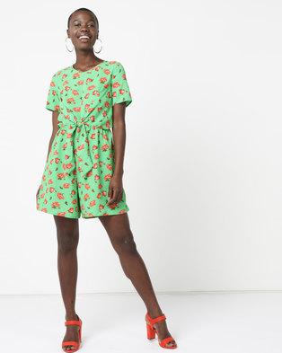 980d9578e77e Legit Wrap Tie Front Playsuit Green