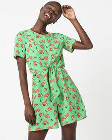 Legit Wrap Tie Front Playsuit Green