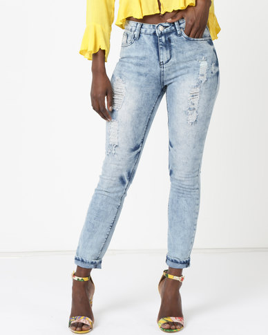 Legit Abraised Patch Skinny Jeans Marble