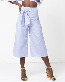 Legit Belted Stripe Culotte White/Blue
