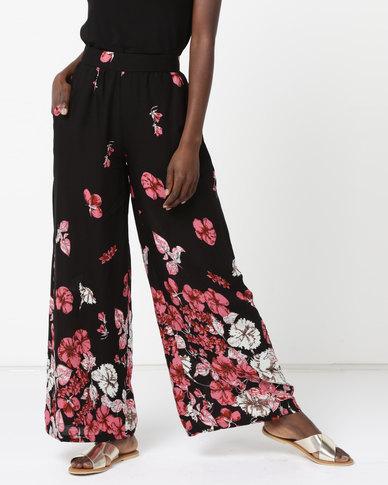 Legit Floral Border Wideleg Pants Black