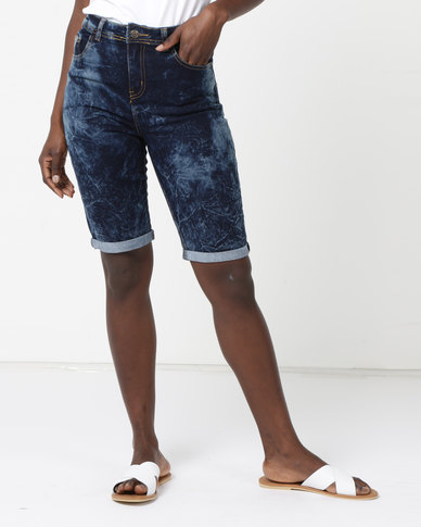 Legit Denim Bermuda Shorts Marble Ink