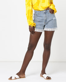 Legit Denim Lace Trim Cheeky Shorts Stonewash