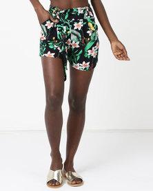 Legit Drapy Tropical Shorts Navy