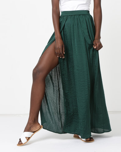 Legit Concealed Slit Maxi Skirt Green