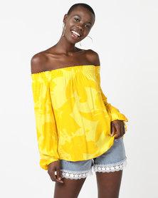 Legit Bardot Tie Sleeve Floral Blouse Yellow