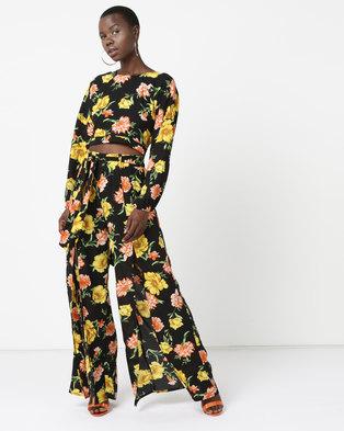617c4f4dbd Legit Open Tie Back Floral Blouse Black