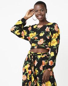 Legit Open Tie Back Floral Blouse Black