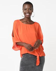 Legit Tie Side Batwing Blouse Orange