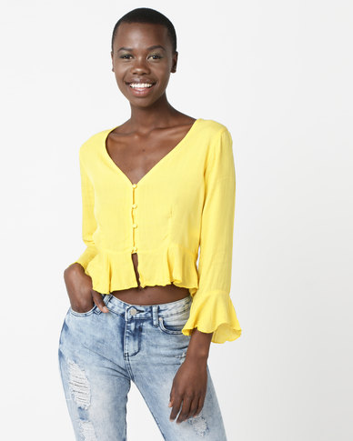 Legit Peplum Crop Top Light Yellow