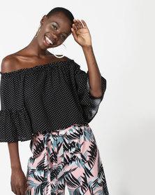 Legit Bardot Spotted Flare Sleeve Top Black