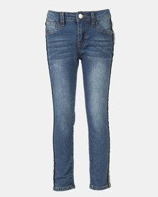 Legit Metallic Sport Stripe Skinny Jeans Ink