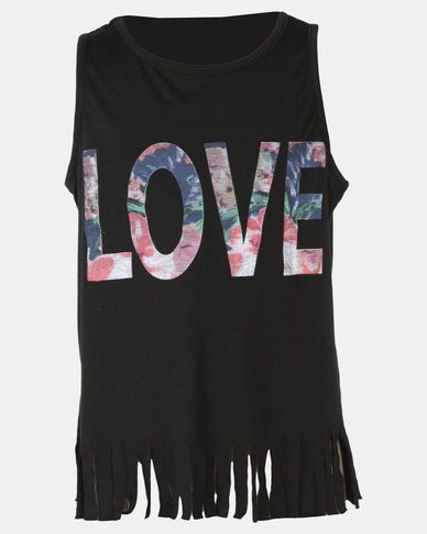 Legit Tassel Hem Screen Tank Black