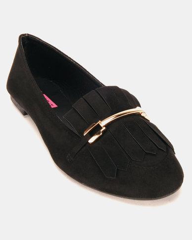 Legit Loafers With Fringe And Metal Bar Trim Black