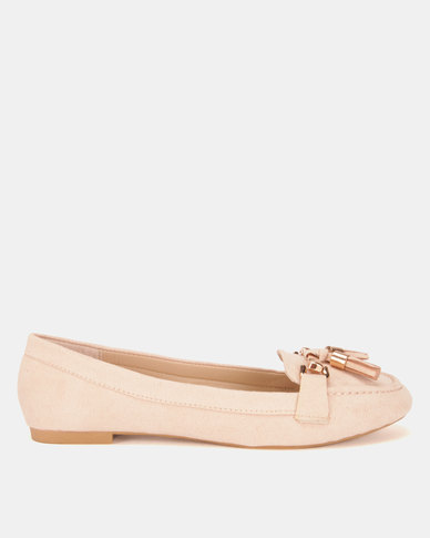 Legit Microfiber Moccasins With Tassel And Metal Bar Blush