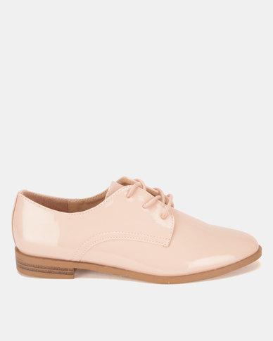 Legit Plain Patent Lace Up Shoes Blush