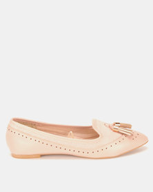 Legit Pointed Multi Fabric Brogues Moc With Tassels Blush