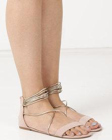 Legit Colourblock Metallic Multi Strap With Zip Sandals Blush