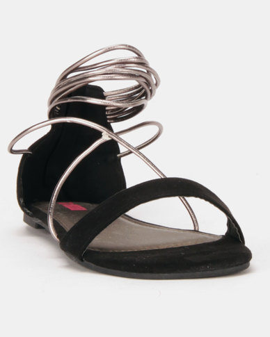 Legit Colourblock Metallic Multi Strap With Zip Sandals Black