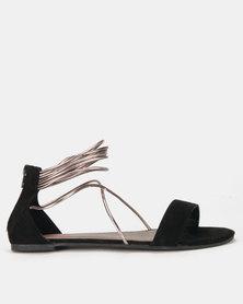 Legit Colourblock Metallic Multi Strap With Zip Sandals Black