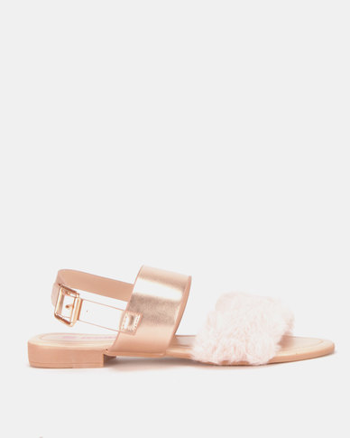 Legit Double Strap Mules With Fur Vamp Blush