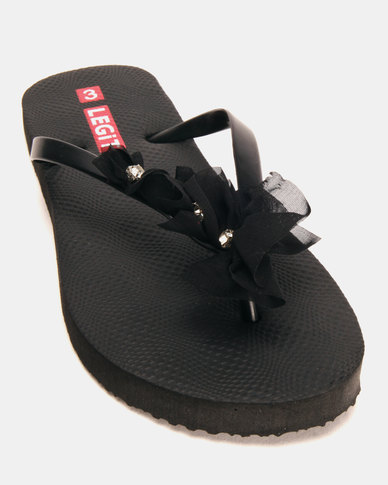 Legit Ladies 3 Slides Flower Black