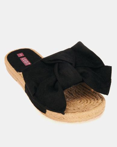 Legit Moc Espadrille Knotted Mule Sandals Black