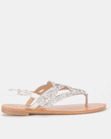 Legit Embellished Laser Cut Thongs Silver