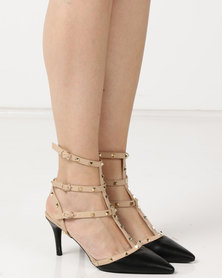 Legit Pointy With T-bar Double Ankle-Strap And Studding Multi