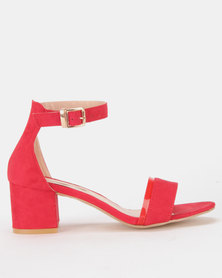 Legit Block Heel Sandals With Vinyl Vamp Insert Red