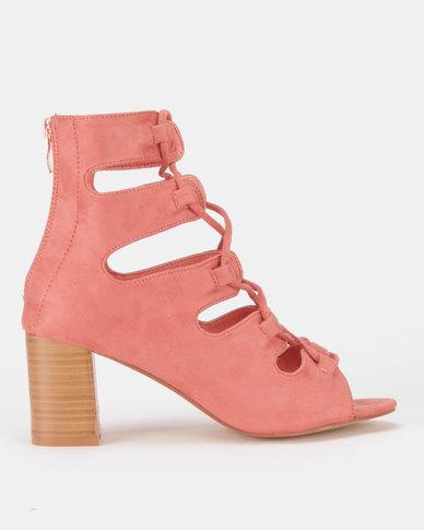 Legit Block Heel Lace-Up Peeptoe Heels with Back Zip Blush
