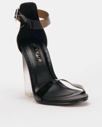 Legit Perspex Block Heels With Vinyl Ankle Strap Vamp Black