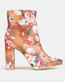 Jada Floral Heeled Ankle Boots Brown