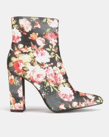 Jada Floral Heeled Ankle Boots Black