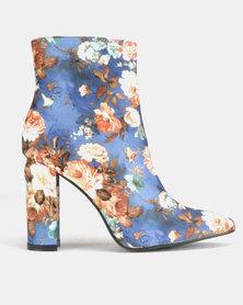 Jada Floral Heeled Ankle Boots Blue
