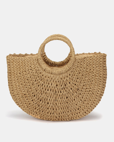 Utopia Round Handle Straw Bag Brown