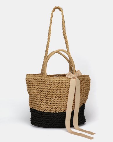 Utopia Two Tone Straw Bag Brown