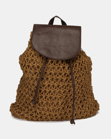 Utopia Woven Backpack Brown