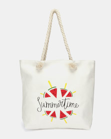 Utopia Watermelon Canvas Tote White