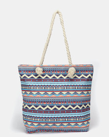 Utopia Canvas Printed Tote Blue