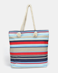 Utopia Canvas Stripe Tote Blue Red White
