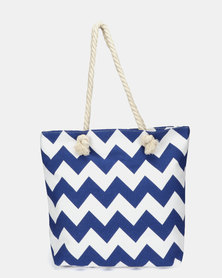 Utopia Canvas Zig Zag Tote Blue White