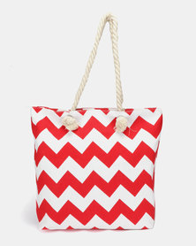 Utopia Canvas Zig Zag Tote Red White