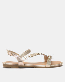 Utopia Vamp Strap Sandals Gold