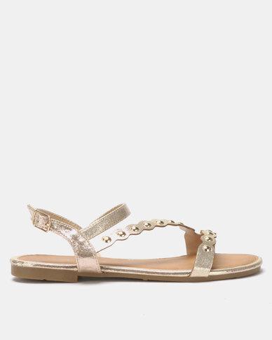 Utopia Vamp Strap Sandals Gold