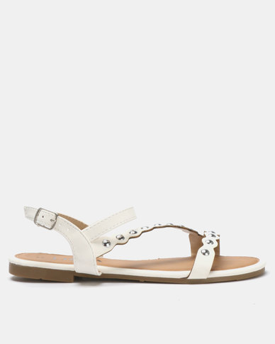 Utopia Vamp Strap Sandals White