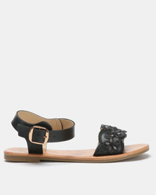 Utopia Embroidered Sandals Black
