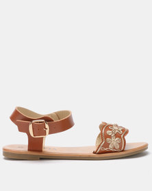 Utopia Embroidered Sandals Tan