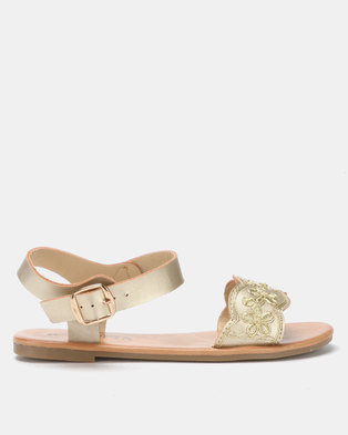 dac8eda02a6 Utopia Embroidered Sandals Gold